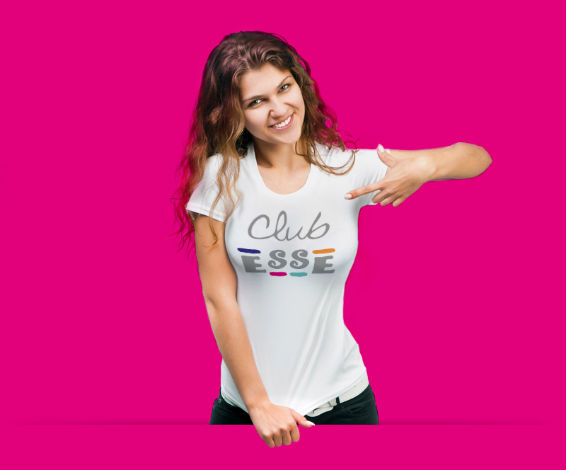 Club Esse entertainer showing the logo on her t-shirt