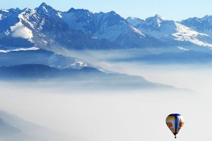 Hot air balloon flight in Valle d'Aosta